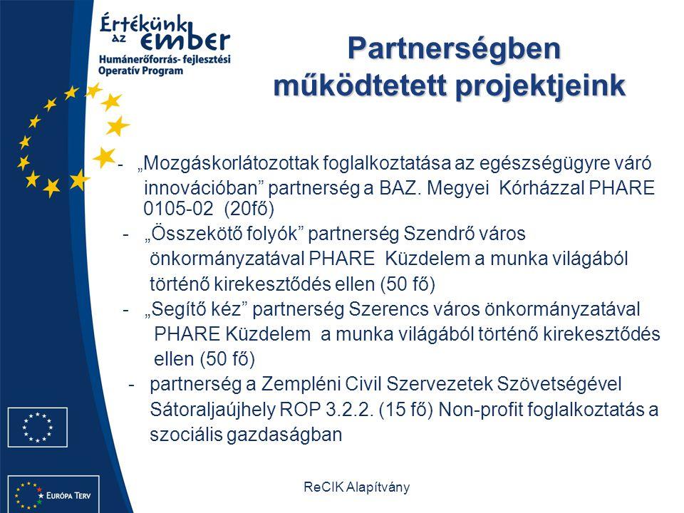 """ReCIK Alapítvány Partnerségben működtetett projektjeink - """" Mozgáskorlátozottak foglalkoztatása az egészségügyre váró innovációban partnerség a BAZ."""