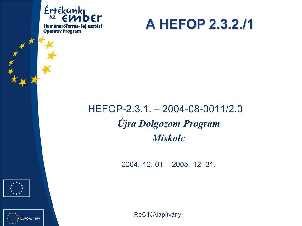 ReCIK Alapítvány A HEFOP 2.3.2./1 HEFOP-2.3.1. – 2004-08-0011/2.0 Újra Dolgozom Program Miskolc 2004. 12. 01 – 2005. 12. 31.