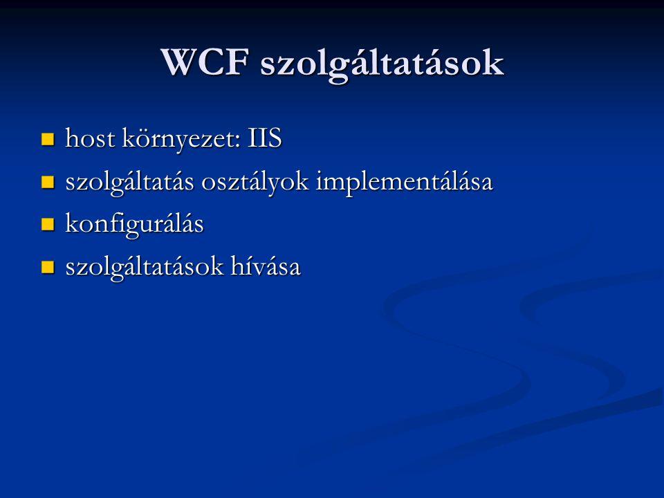 WCF szolgáltatások host környezet: IIS host környezet: IIS szolgáltatás osztályok implementálása szolgáltatás osztályok implementálása konfigurálás ko