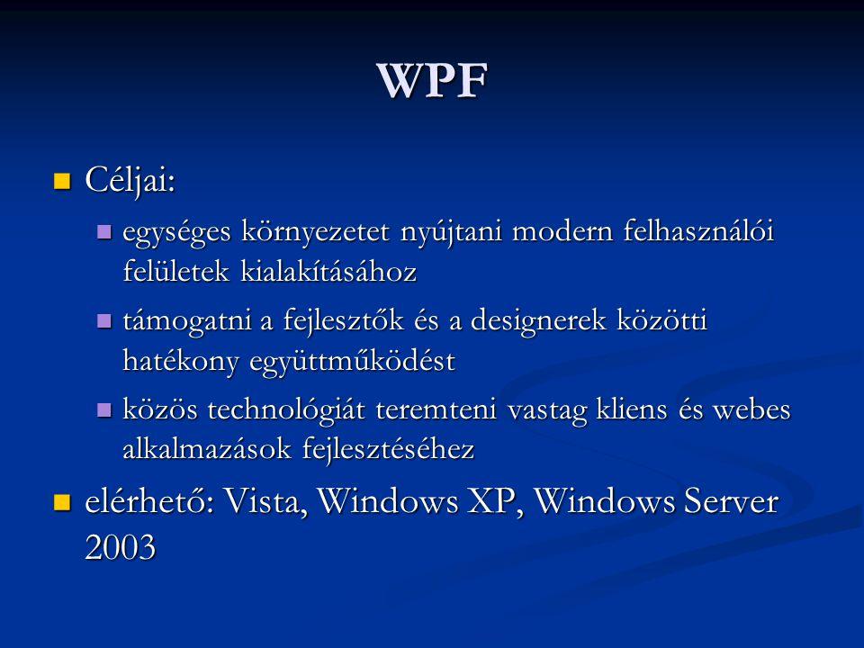 WPF Céljai: Céljai: egységes környezetet nyújtani modern felhasználói felületek kialakításához egységes környezetet nyújtani modern felhasználói felül
