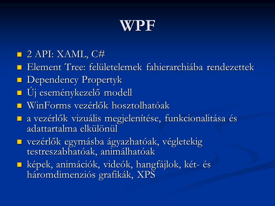 WPF 2 API: XAML, C# 2 API: XAML, C# Element Tree: felületelemek fahierarchiába rendezettek Element Tree: felületelemek fahierarchiába rendezettek Depe