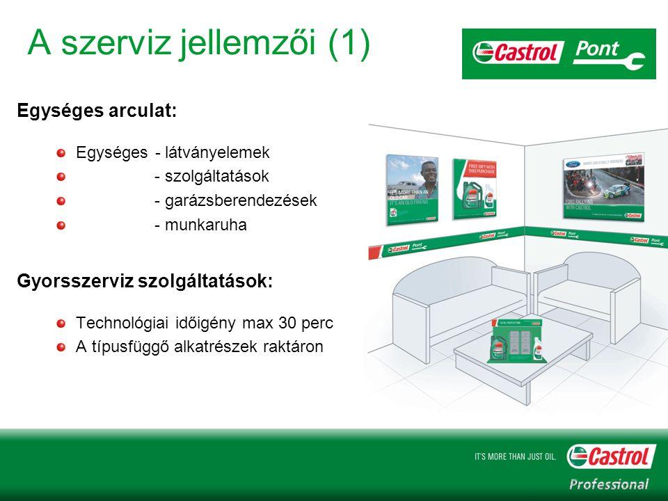 A szerviz jellemzői (1) Egységes arculat: Egységes - látványelemek - szolgáltatások - garázsberendezések - munkaruha Gyorsszerviz szolgáltatások: Technológiai időigény max 30 perc A típusfüggő alkatrészek raktáron