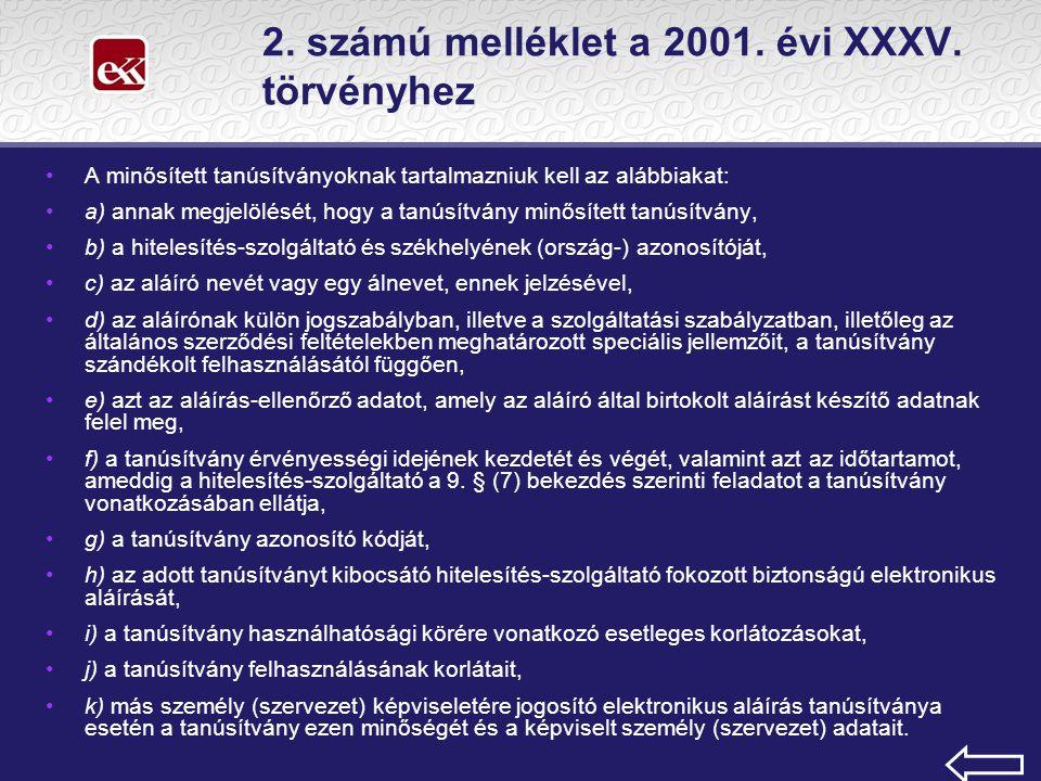 2. számú melléklet a 2001. évi XXXV.