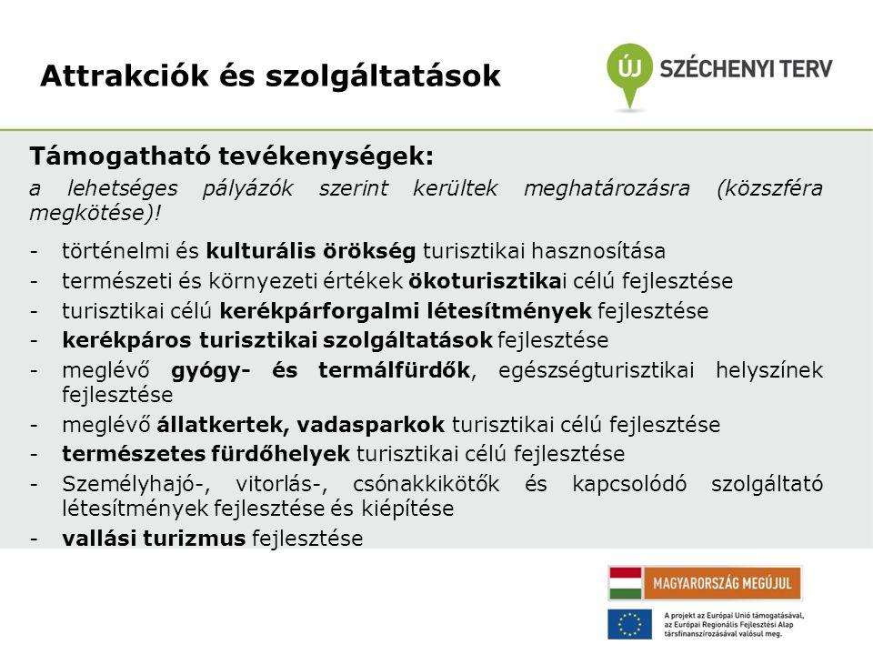 Támogatható tevékenységek: a lehetséges pályázók szerint kerültek meghatározásra (közszféra megkötése)! -történelmi és kulturális örökség turisztikai