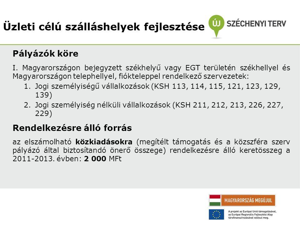 Üzleti célú szálláshelyek fejlesztése Pályázók köre I. Magyarországon bejegyzett székhelyű vagy EGT területén székhellyel és Magyarországon telephelly