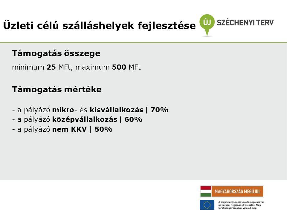 Támogatás összege minimum 25 MFt, maximum 500 MFt Támogatás mértéke - a pályázó mikro- és kisvállalkozás   70% - a pályázó középvállalkozás   60% - a