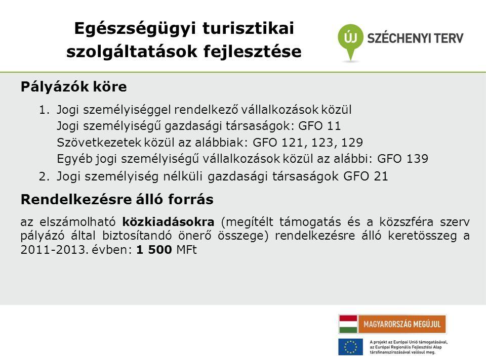 Egészségügyi turisztikai szolgáltatások fejlesztése Pályázók köre 1.Jogi személyiséggel rendelkező vállalkozások közül Jogi személyiségű gazdasági társaságok: GFO 11 Szövetkezetek közül az alábbiak: GFO 121, 123, 129 Egyéb jogi személyiségű vállalkozások közül az alábbi: GFO 139 2.