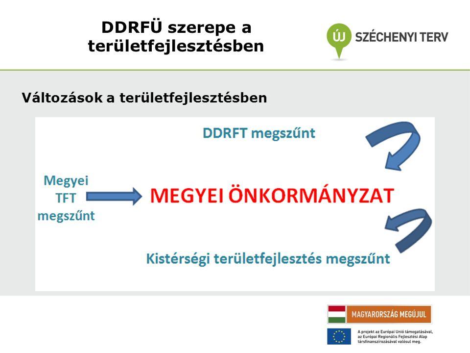 A DDRFÜ feladatkörei Megmaradó feladatkörök Megszűnő feladatkörök Közreműködő SzervezetDDRFT munkaszervezete DDOP-ban foglaltak megvalósításaTanács titkársági feladatainak ellátása Pályázatkezelés, értékelésTanács bizottságainak működtetése Szerződéskötés Végrehajtás ellenőrzése, monitoring továbbá:továbbá: Tervezés (felkészülés 2014-20-ra)Régiószervezés (régiós marketing, Projektfejlesztéskistérségek szerepe,stb.) DDRFÜ szerepe a területfejlesztésben