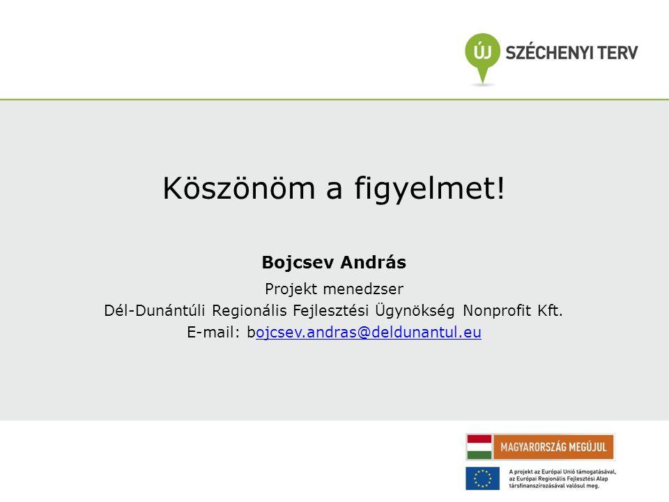 Köszönöm a figyelmet! Bojcsev András Projekt menedzser Dél-Dunántúli Regionális Fejlesztési Ügynökség Nonprofit Kft. E-mail: bojcsev.andras@deldunantu