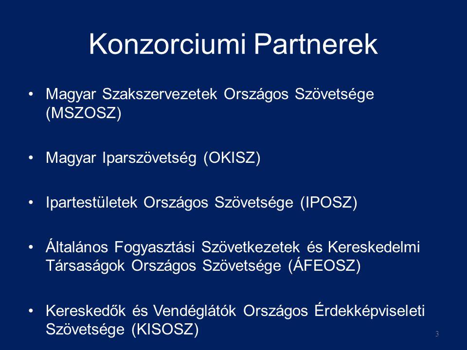 Konzorciumi Partnerek Magyar Szakszervezetek Országos Szövetsége (MSZOSZ) Magyar Iparszövetség (OKISZ) Ipartestületek Országos Szövetsége (IPOSZ) Általános Fogyasztási Szövetkezetek és Kereskedelmi Társaságok Országos Szövetsége (ÁFEOSZ) Kereskedők és Vendéglátók Országos Érdekképviseleti Szövetsége (KISOSZ) 3