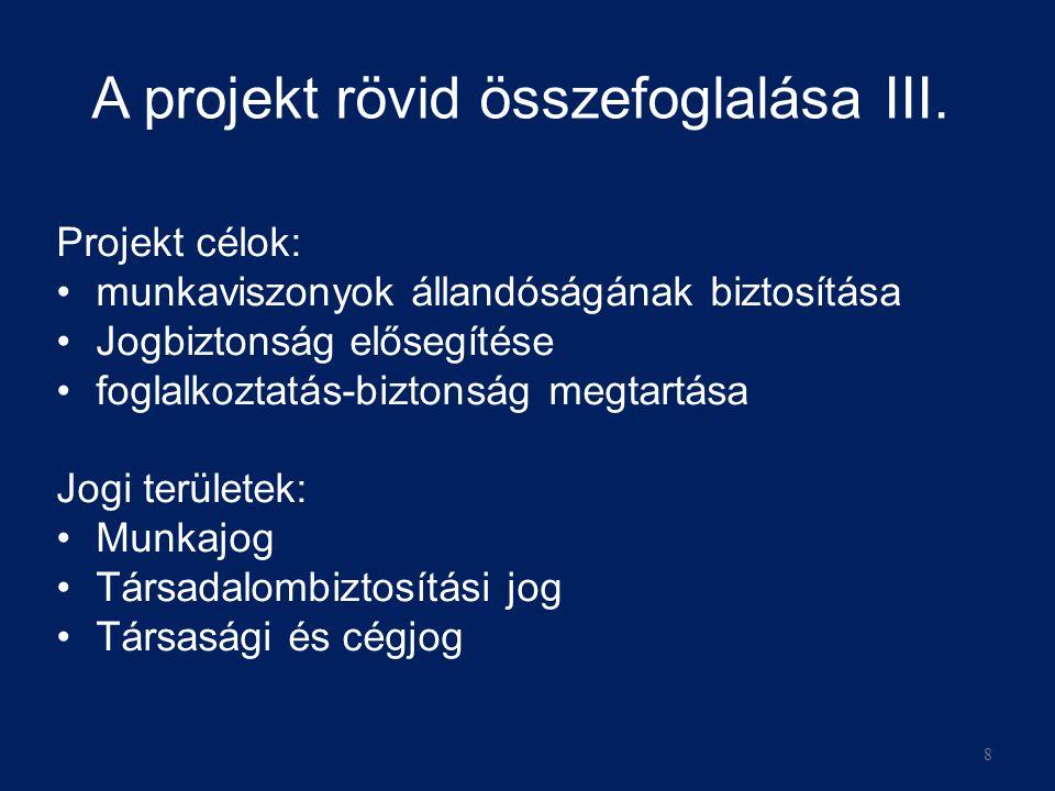 A projekt rövid összefoglalása III.