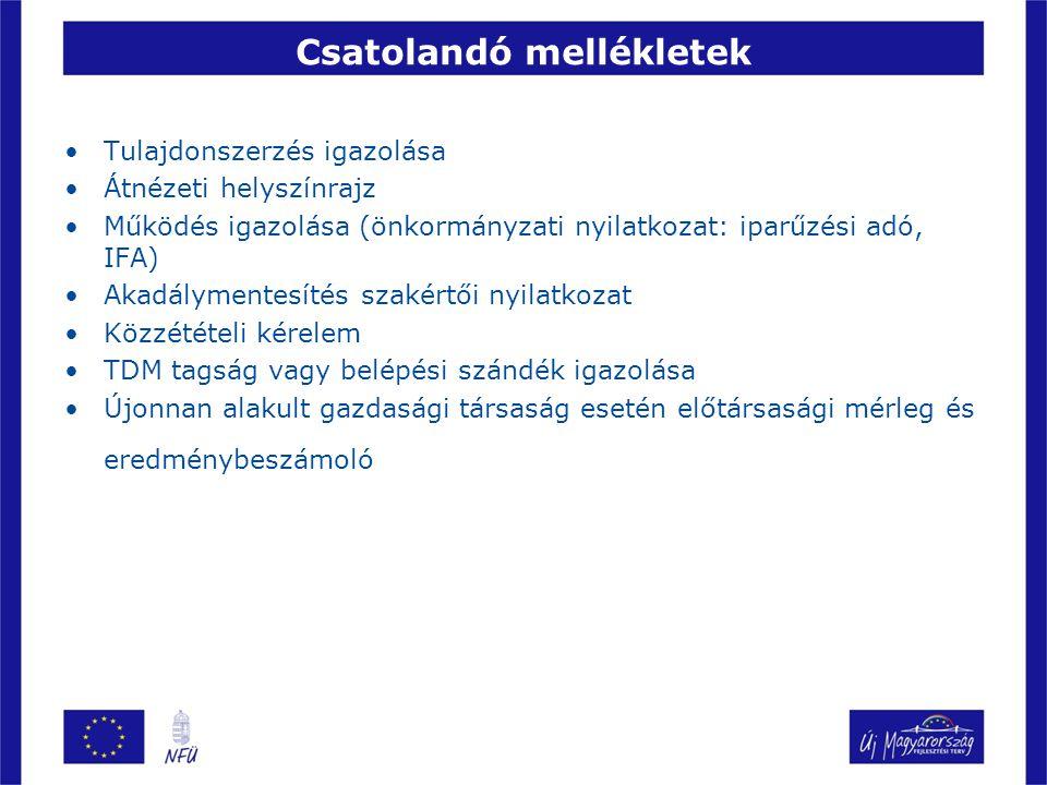 Csatolandó mellékletek Tulajdonszerzés igazolása Átnézeti helyszínrajz Működés igazolása (önkormányzati nyilatkozat: iparűzési adó, IFA) Akadálymentes