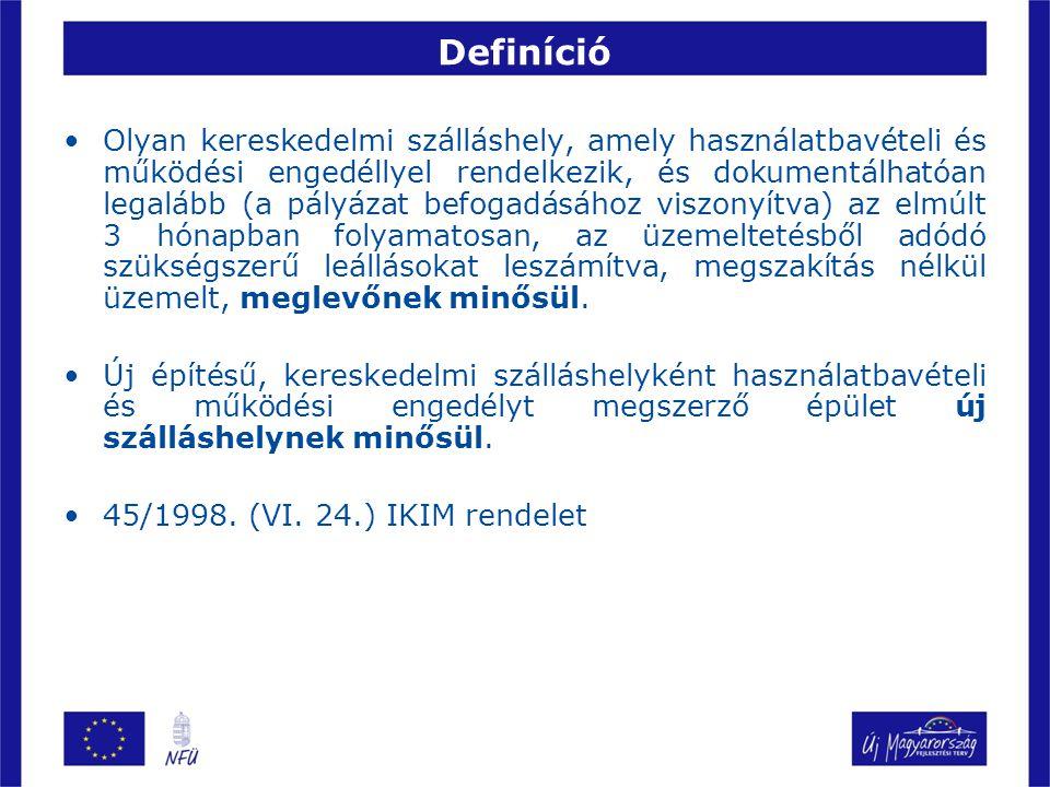 Definíció Olyan kereskedelmi szálláshely, amely használatbavételi és működési engedéllyel rendelkezik, és dokumentálhatóan legalább (a pályázat befoga