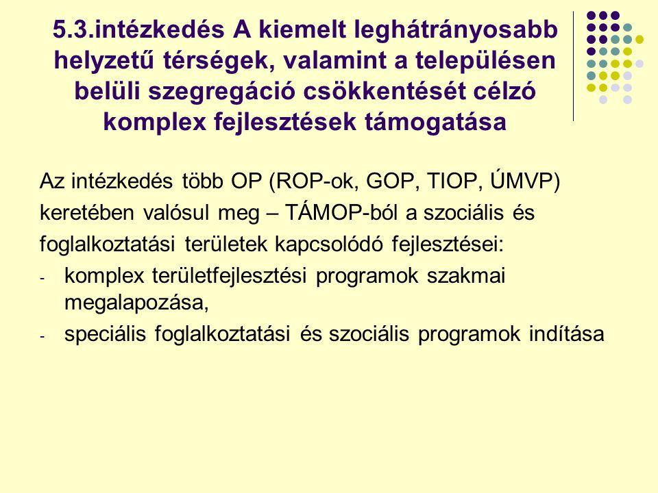 5.3.intézkedés A kiemelt leghátrányosabb helyzetű térségek, valamint a településen belüli szegregáció csökkentését célzó komplex fejlesztések támogatása Az intézkedés több OP (ROP-ok, GOP, TIOP, ÚMVP) keretében valósul meg – TÁMOP-ból a szociális és foglalkoztatási területek kapcsolódó fejlesztései: - komplex területfejlesztési programok szakmai megalapozása, - speciális foglalkoztatási és szociális programok indítása