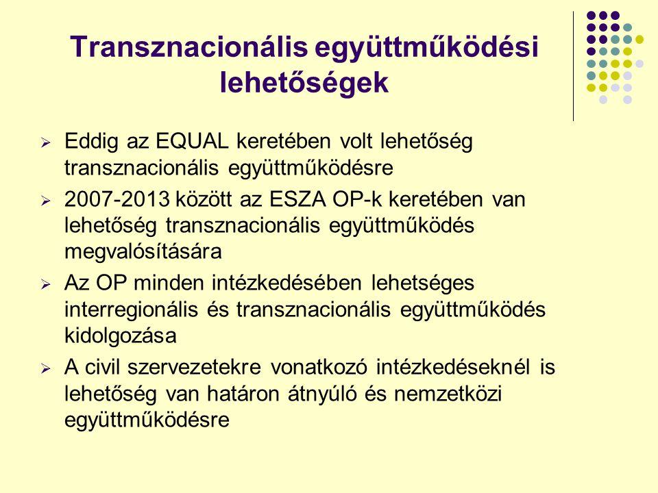Transznacionális együttműködési lehetőségek  Eddig az EQUAL keretében volt lehetőség transznacionális együttműködésre  2007-2013 között az ESZA OP-k keretében van lehetőség transznacionális együttműködés megvalósítására  Az OP minden intézkedésében lehetséges interregionális és transznacionális együttműködés kidolgozása  A civil szervezetekre vonatkozó intézkedéseknél is lehetőség van határon átnyúló és nemzetközi együttműködésre