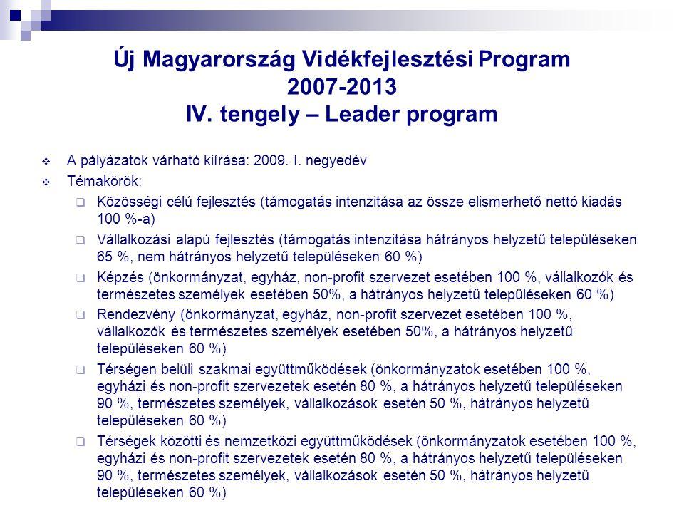 Új Magyarország Vidékfejlesztési Program 2007-2013 IV. tengely – Leader program  A pályázatok várható kiírása: 2009. I. negyedév  Témakörök:  Közös