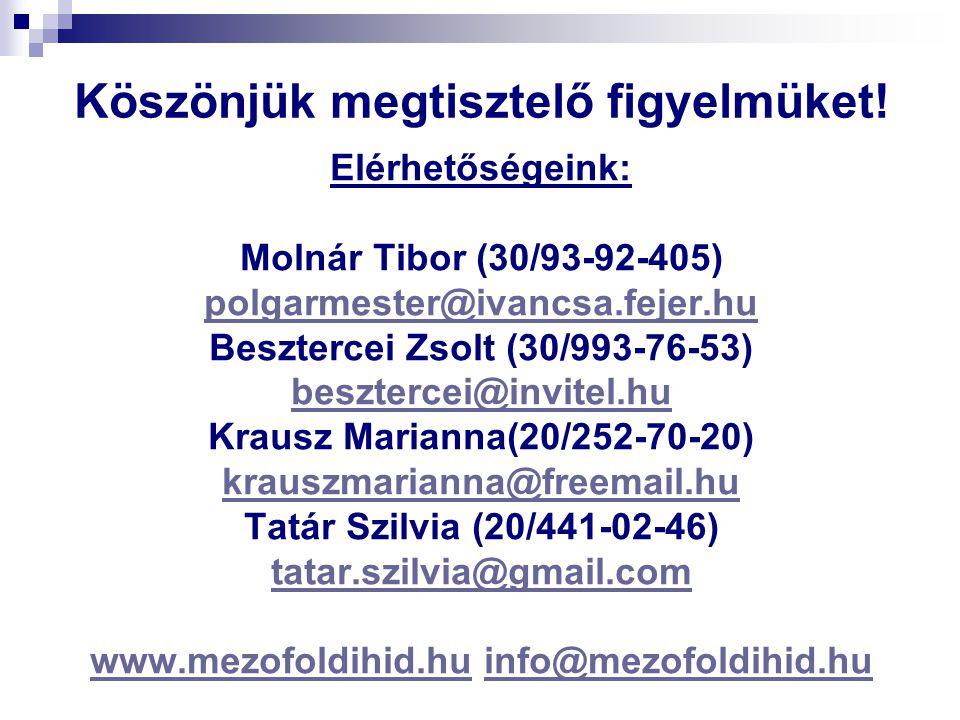 Köszönjük megtisztelő figyelmüket! Elérhetőségeink: Molnár Tibor (30/93-92-405) polgarmester@ivancsa.fejer.hu Besztercei Zsolt (30/993-76-53) beszterc