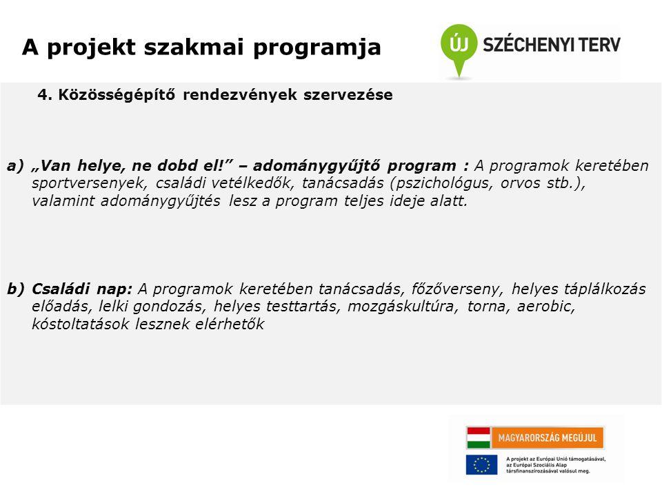 """4. Közösségépítő rendezvények szervezése a)""""Van helye, ne dobd el!"""" – adománygyűjtő program : A programok keretében sportversenyek, családi vetélkedők"""