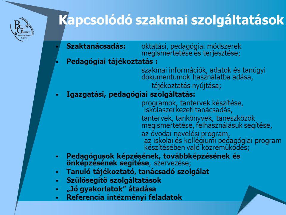  Szaktanácsadás: oktatási, pedagógiai módszerek megismertetése és terjesztése;  Pedagógiai tájékoztatás : szakmai információk, adatok és tanügyi dok