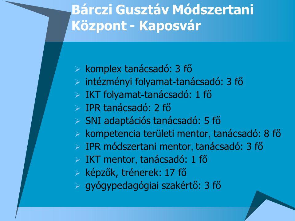 Bárczi Gusztáv Módszertani Központ - Kaposvár  komplex tanácsadó: 3 fő  intézményi folyamat - tanácsadó: 3 fő  IKT folyamat - tanácsadó: 1 fő  IPR