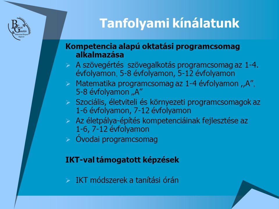 Tanfolyami kínálatunk Kompetencia alapú oktatási programcsomag alkalmazása  A szövegértés  szövegalkotás programcsomag az 1-4. évfolyamon, 5-8 évfol