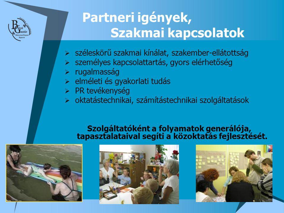 Partneri igények, Szakmai kapcsolatok  széleskörű szakmai kínálat, szakember-ellátottság  személyes kapcsolattartás, gyors elérhetőség  rugalmasság