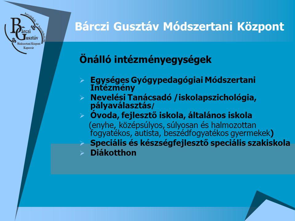 Bárczi Gusztáv Módszertani Központ Önálló intézményegységek  Egységes Gyógypedagógiai Módszertani Intézmény  Nevelési Tanácsadó /iskolapszichológia,