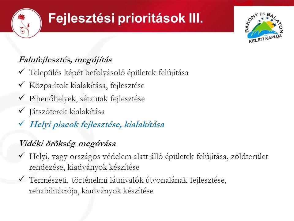 Fejlesztési prioritások III.