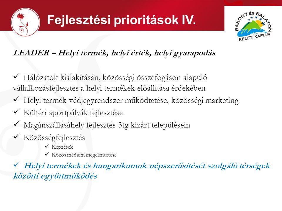 Fejlesztési prioritások IV.