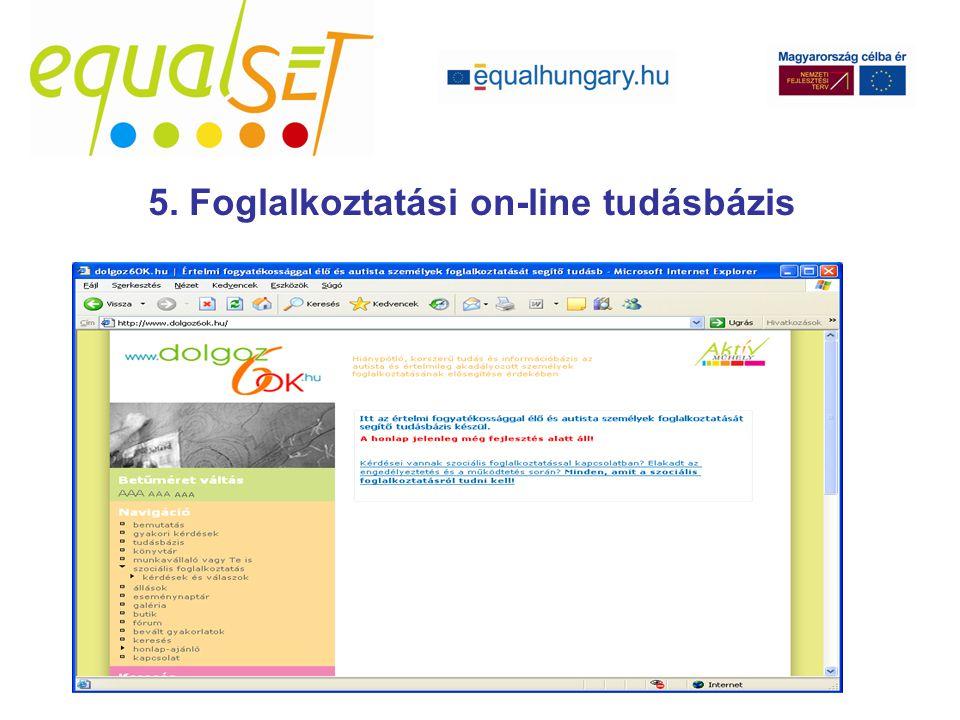 5. Foglalkoztatási on-line tudásbázis