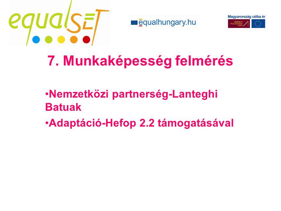 Nemzetközi partnerség-Lanteghi Batuak Adaptáció-Hefop 2.2 támogatásával 7. Munkaképesség felmérés