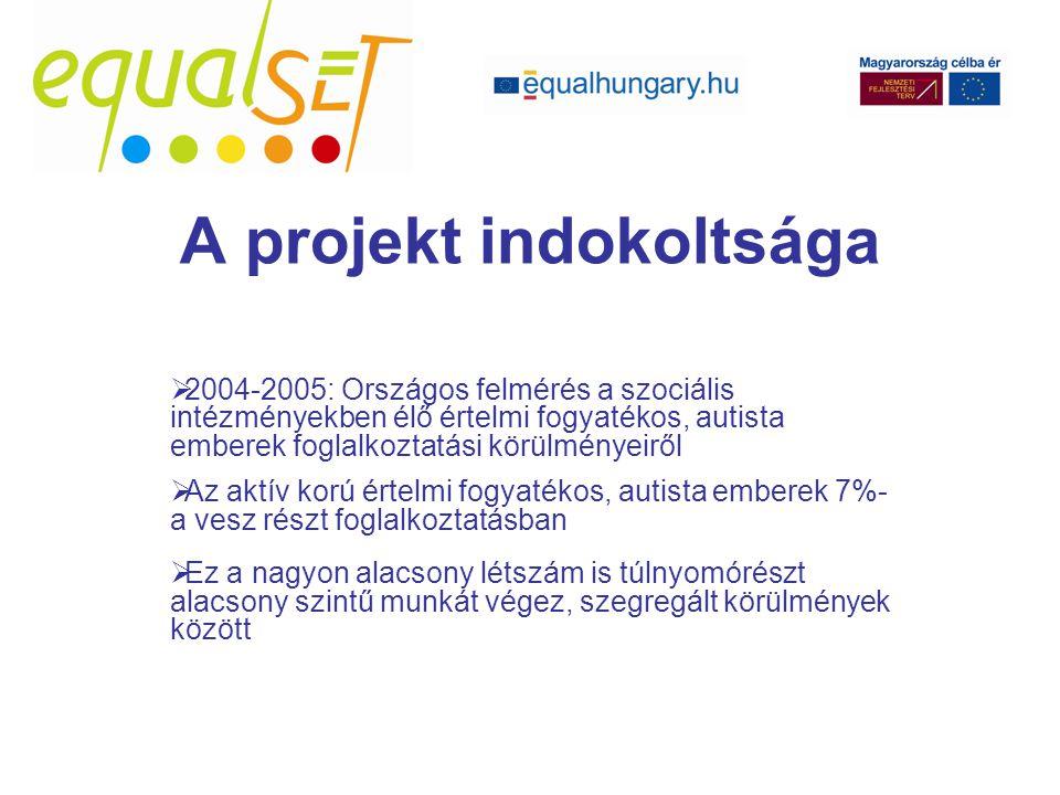  2004-2005: Országos felmérés a szociális intézményekben élő értelmi fogyatékos, autista emberek foglalkoztatási körülményeiről  Az aktív korú értelmi fogyatékos, autista emberek 7%- a vesz részt foglalkoztatásban  Ez a nagyon alacsony létszám is túlnyomórészt alacsony szintű munkát végez, szegregált körülmények között A projekt indokoltsága