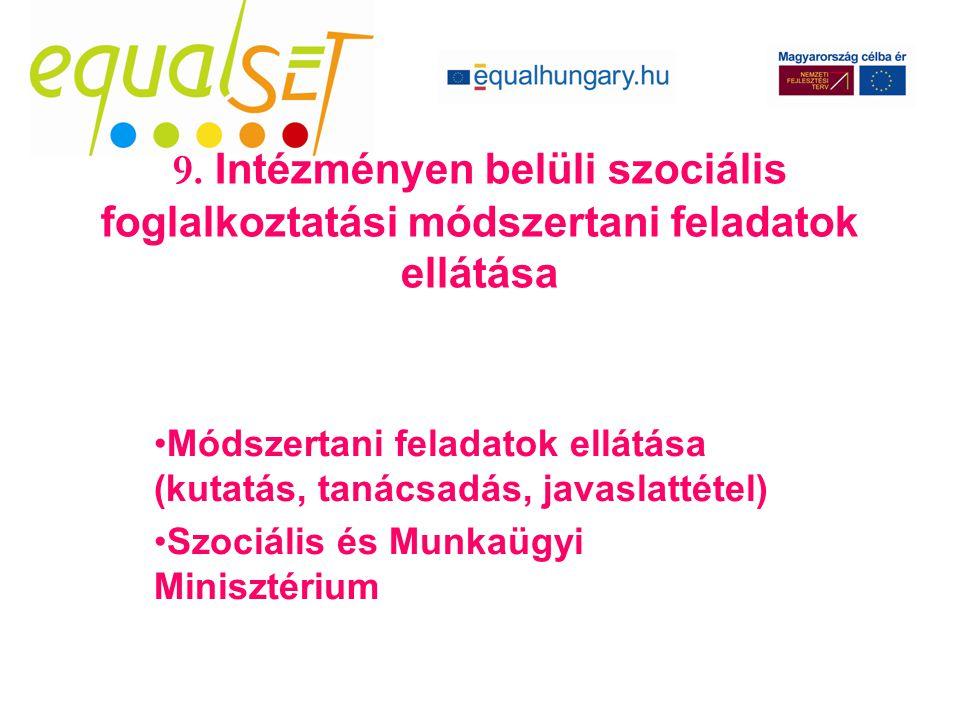 Módszertani feladatok ellátása (kutatás, tanácsadás, javaslattétel) Szociális és Munkaügyi Minisztérium 9. Intézményen belüli szociális foglalkoztatás