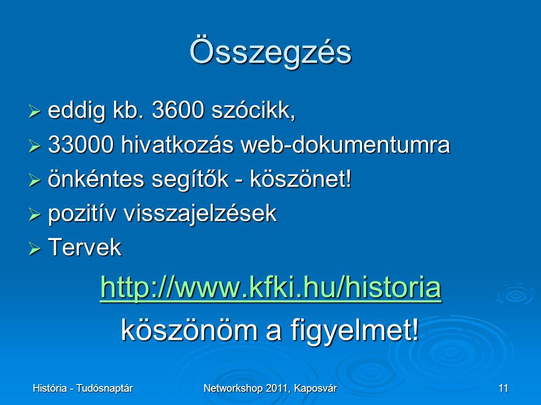 História - TudósnaptárNetworkshop 2011, Kaposvár11 Összegzés  eddig kb.