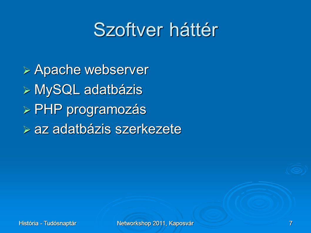 História - TudósnaptárNetworkshop 2011, Kaposvár7 Szoftver háttér  Apache webserver  MySQL adatbázis  PHP programozás  az adatbázis szerkezete