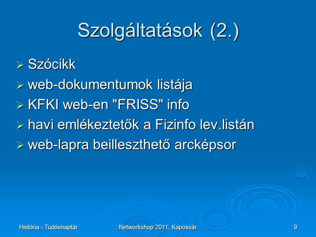 História - TudósnaptárNetworkshop 2011, Kaposvár9 Szolgáltatások (2.)  Szócikk  web-dokumentumok listája  KFKI web-en FRISS info  havi emlékeztetők a Fizinfo lev.listán  web-lapra beilleszthető arcképsor