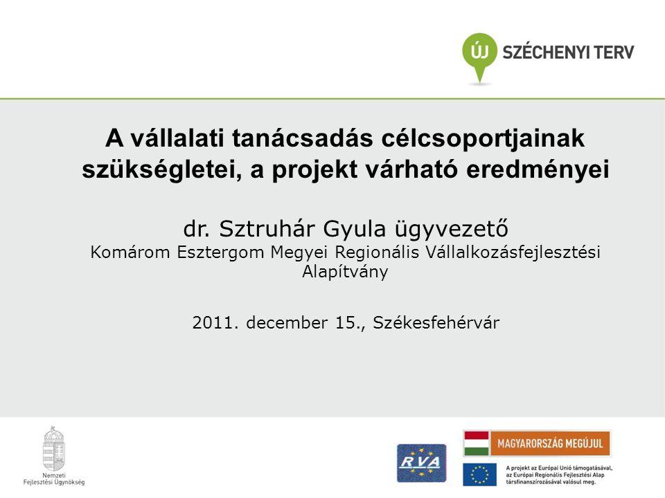 A vállalati tanácsadás célcsoportjainak szükségletei, a projekt várható eredményei dr. Sztruhár Gyula ügyvezető Komárom Esztergom Megyei Regionális Vá