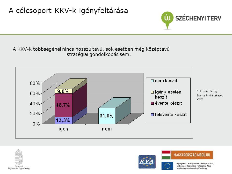 A célcsoport KKV-k igényfeltárása * Forrás Parragh Bianka Phd értekezés 2010 A KKV-k többségénél nincs hosszú távú, sok esetben még középtávú stratégi
