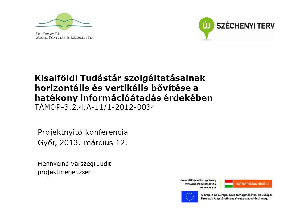 """Előzmények Könyvtári szolgáltatások összehangolt infrastruktúra fejlesztése Korszerű könyvtári szolgáltatások infrastruktúra fejlesztése a Kisfaludy Károly Megyei Könyvtárban (TIOP-1.2.3/09/1-2009-0020) pályázat A könyvtári hálózat nem formális és informális képzési szerepének erősítése az élethosszig tartó tanulás érdekében """"Közösség – Tudás - Könyvtár összehangolt könyvtári szolgáltatásokkal a használókért (TÁMOP-3.2.4-08/1-2009-0064) pályázat a Kisfaludy Károly Megyei Könyvtár konzorciumi vezetésével"""