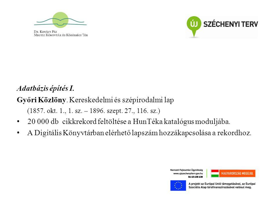 Adatbázis építés I. Győri Közlöny. Kereskedelmi és szépirodalmi lap (1857.