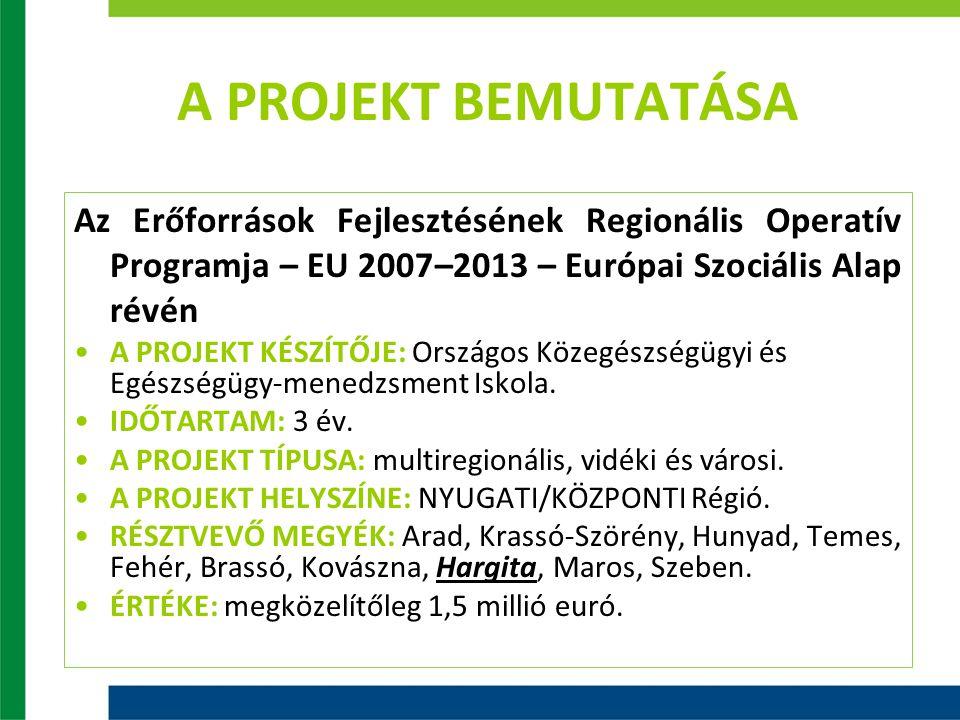 A PROJEKT BEMUTATÁSA Az Erőforrások Fejlesztésének Regionális Operatív Programja – EU 2007–2013 – Európai Szociális Alap révén A PROJEKT KÉSZÍTŐJE:A PROJEKT KÉSZÍTŐJE: Országos Közegészségügyi és Egészségügy-menedzsment Iskola.