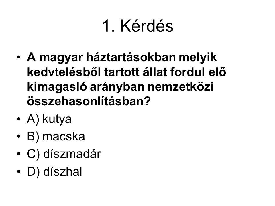 1. Kérdés A magyar háztartásokban melyik kedvtelésből tartott állat fordul elő kimagasló arányban nemzetközi összehasonlításban? A) kutya B) macska C)