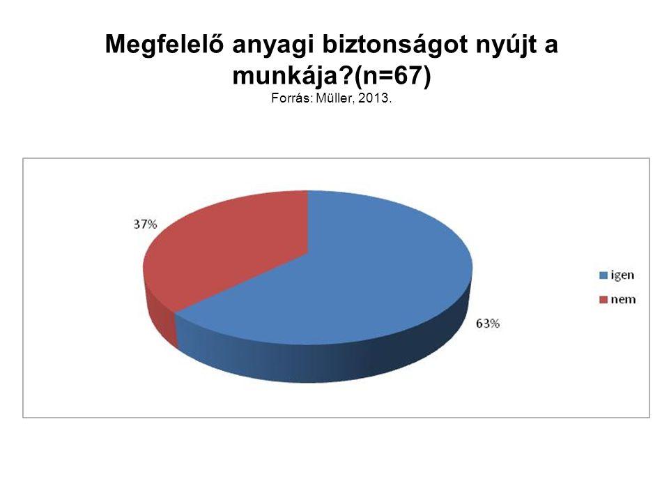 Megfelelő anyagi biztonságot nyújt a munkája?(n=67) Forrás: Müller, 2013.