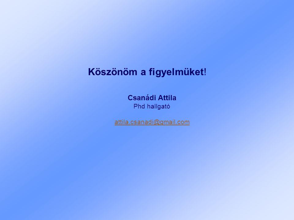 Köszönöm a figyelmüket! Csanádi Attila Phd hallgató attila.csanadi@gmail.com