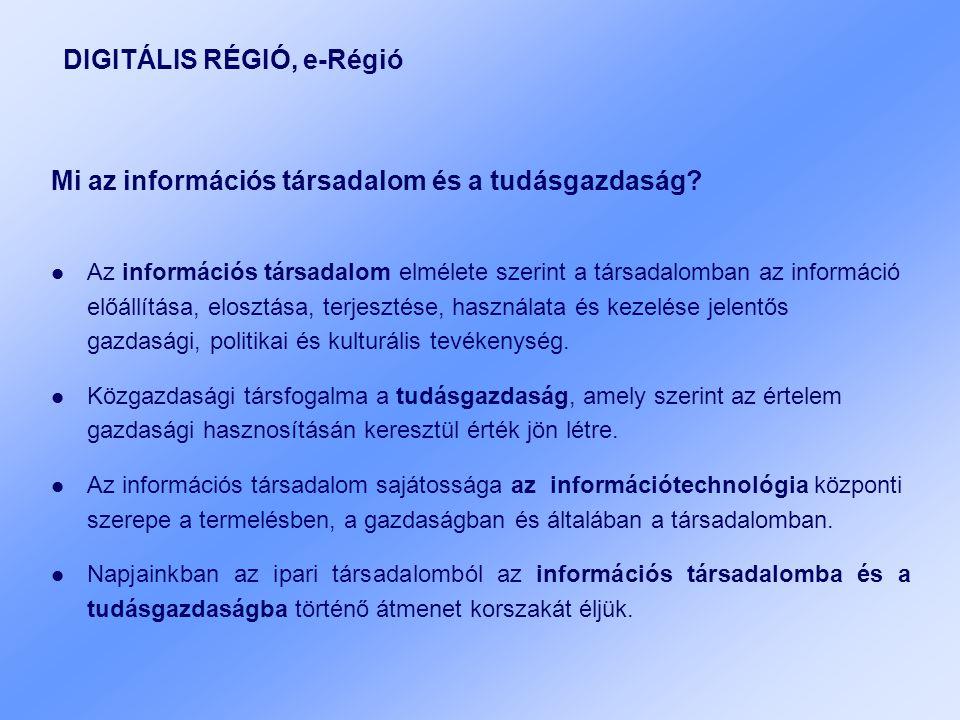 DIGITÁLIS RÉGIÓ, e-Régió Mi az információs társadalom és a tudásgazdaság.