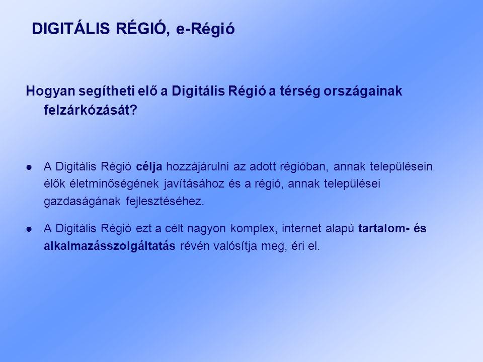DIGITÁLIS RÉGIÓ, e-Régió Hogyan segítheti elő a Digitális Régió a térség országainak felzárkózását? A Digitális Régió célja hozzájárulni az adott régi