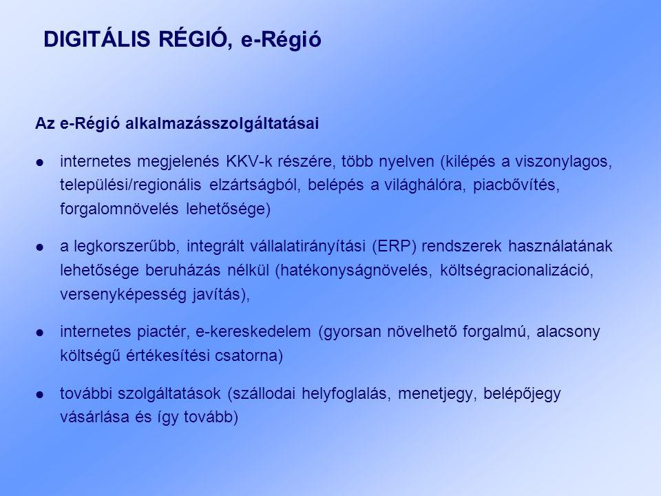 DIGITÁLIS RÉGIÓ, e-Régió Az e-Régió alkalmazásszolgáltatásai internetes megjelenés KKV-k részére, több nyelven (kilépés a viszonylagos, települési/regionális elzártságból, belépés a világhálóra, piacbővítés, forgalomnövelés lehetősége) a legkorszerűbb, integrált vállalatirányítási (ERP) rendszerek használatának lehetősége beruházás nélkül (hatékonyságnövelés, költségracionalizáció, versenyképesség javítás), internetes piactér, e-kereskedelem (gyorsan növelhető forgalmú, alacsony költségű értékesítési csatorna) további szolgáltatások (szállodai helyfoglalás, menetjegy, belépőjegy vásárlása és így tovább)
