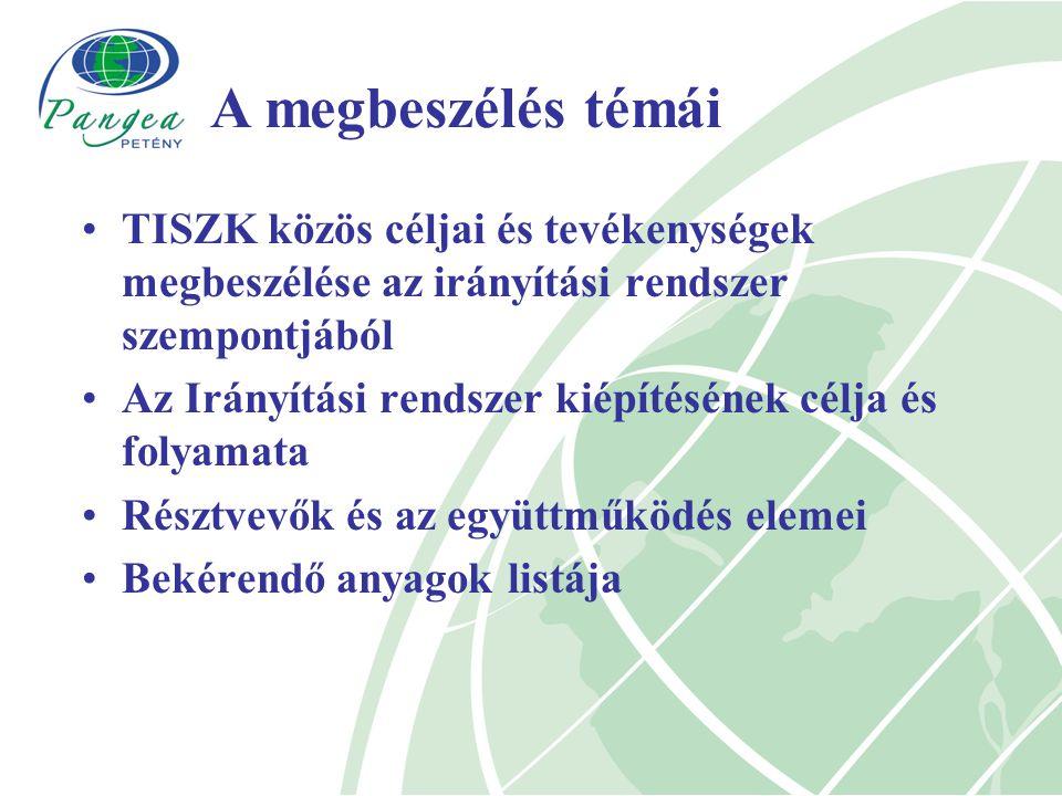 TISZK közös céljai és tevékenységek megbeszélése az irányítási rendszer szempontjából Az Irányítási rendszer kiépítésének célja és folyamata Résztvevők és az együttműködés elemei Bekérendő anyagok listája A megbeszélés témái