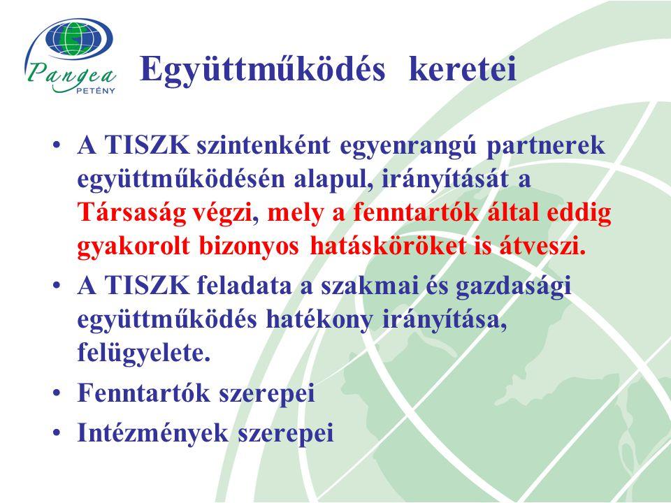 A TISZK szintenként egyenrangú partnerek együttműködésén alapul, irányítását a Társaság végzi, mely a fenntartók által eddig gyakorolt bizonyos hatásköröket is átveszi.