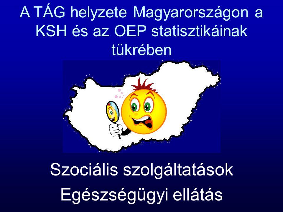 A TÁG helyzete Magyarországon a KSH és az OEP statisztikáinak tükrében Szociális szolgáltatások Egészségügyi ellátás